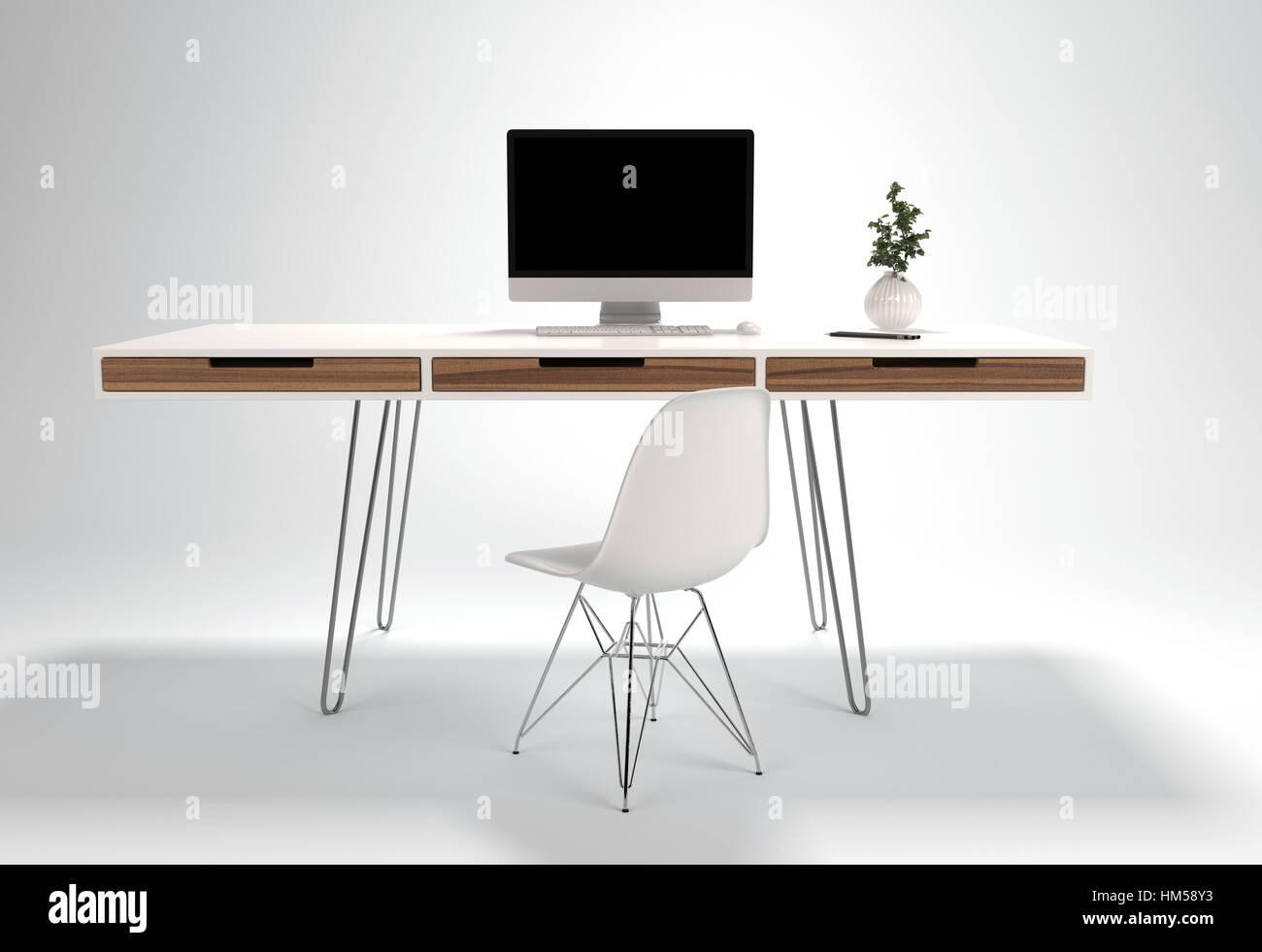 Schreibtisch pflanze - Grun schwarzer stuhl ...