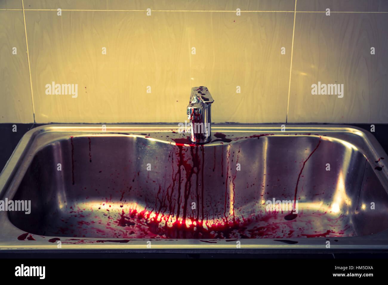 Kitchen Sink Blood Halloween Filtered Stockfotos & Kitchen Sink ...