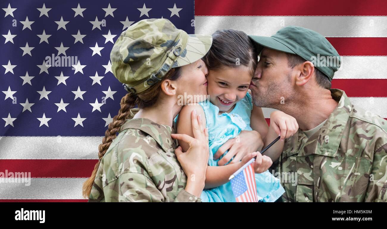 Soldat Paar mit ihrer Tochter wieder vereint Stockbild