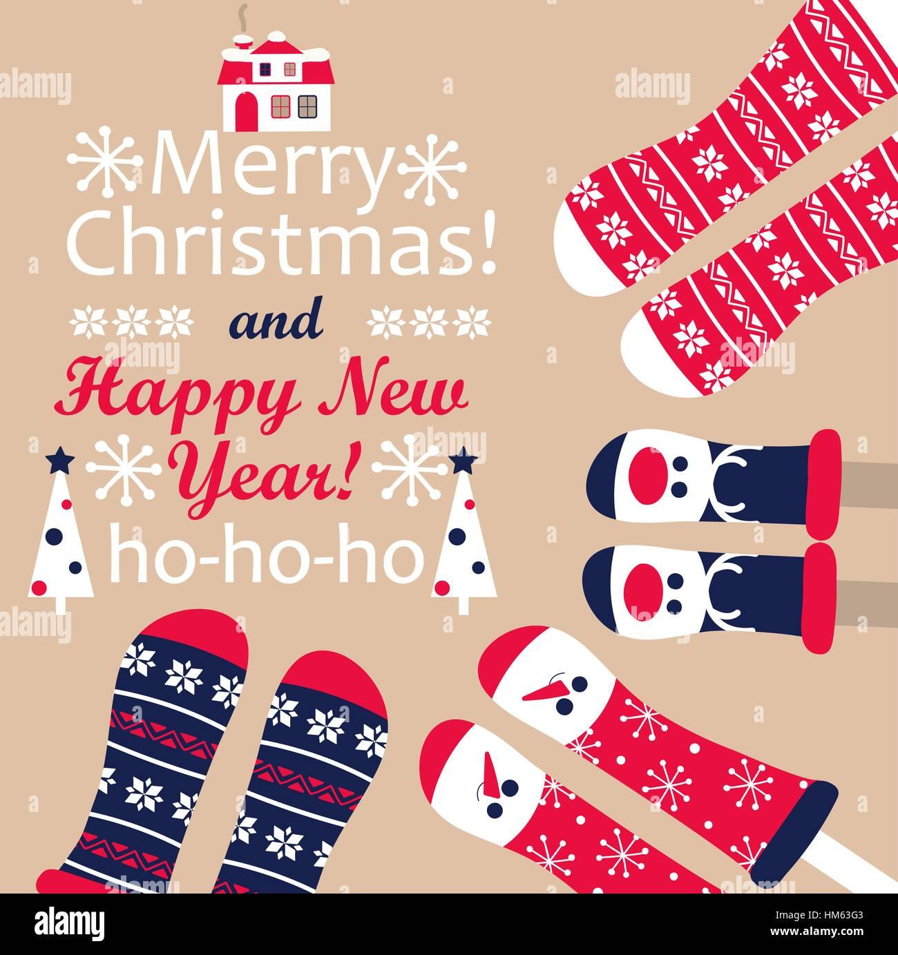 Familie Füße in Weihnachten Socken. Winter Urlaub Konzept. Frohes ...
