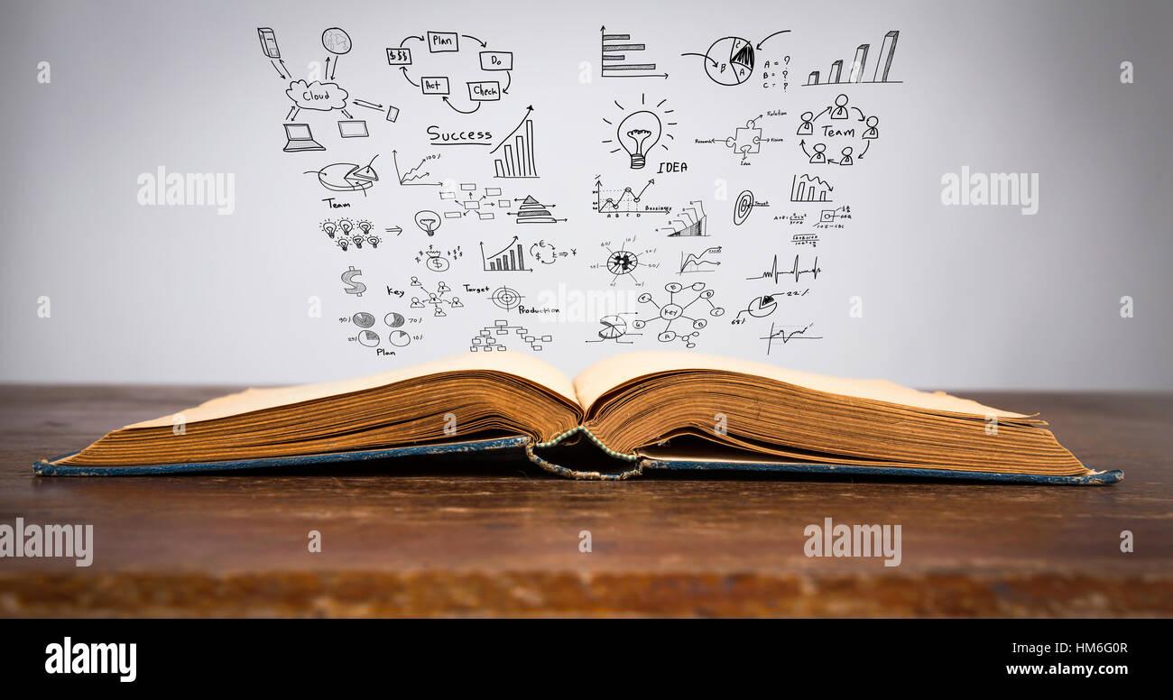 Magisches Buch mit Business-Konzept und Grafik Stockbild