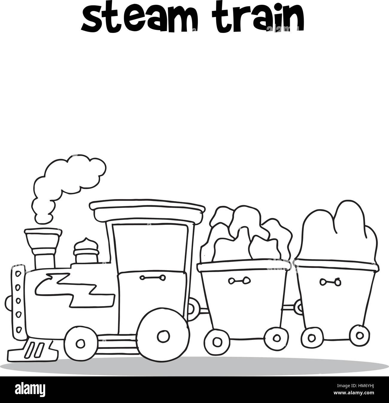 Hand Zu Zeichnen Der Dampf Zug Vektor Vektor Abbildung Bild
