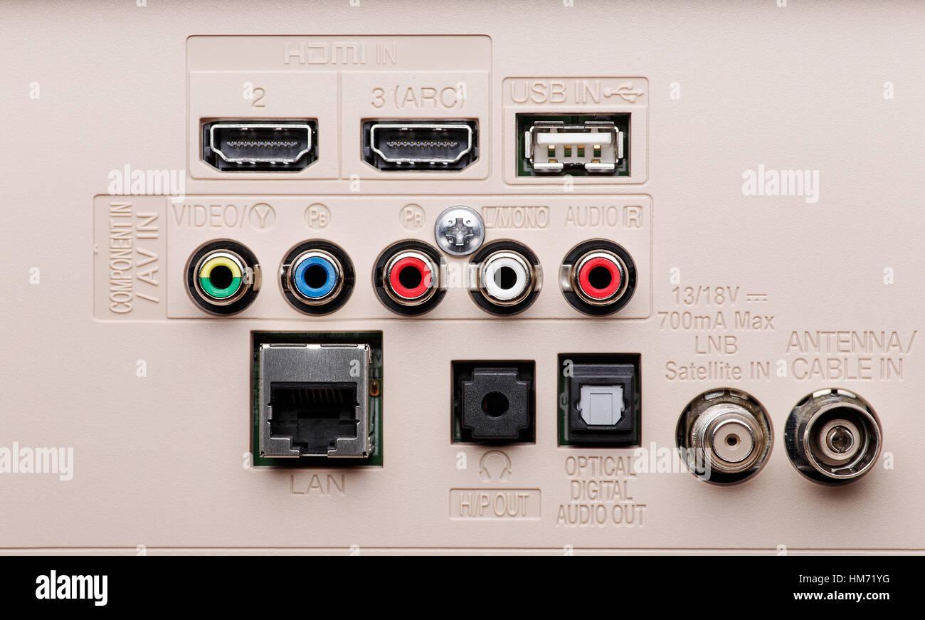 Eingangs Und Anschlusse Der Moderne Tv Panel Hdmi Komponente Av