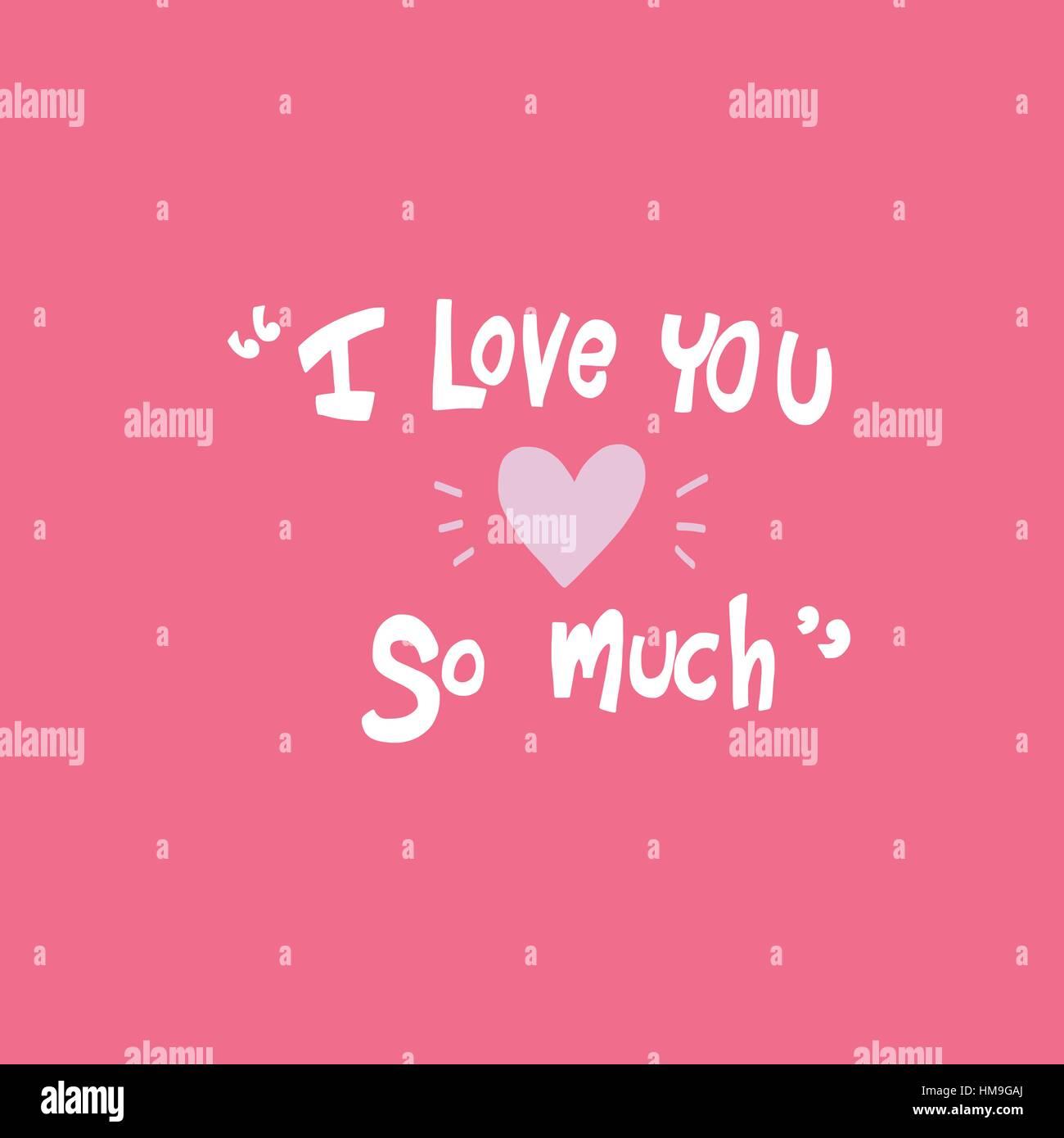 Ich Liebe Dich So Sehr Wort Auf Rosa Hintergrund Vektor Abbildung