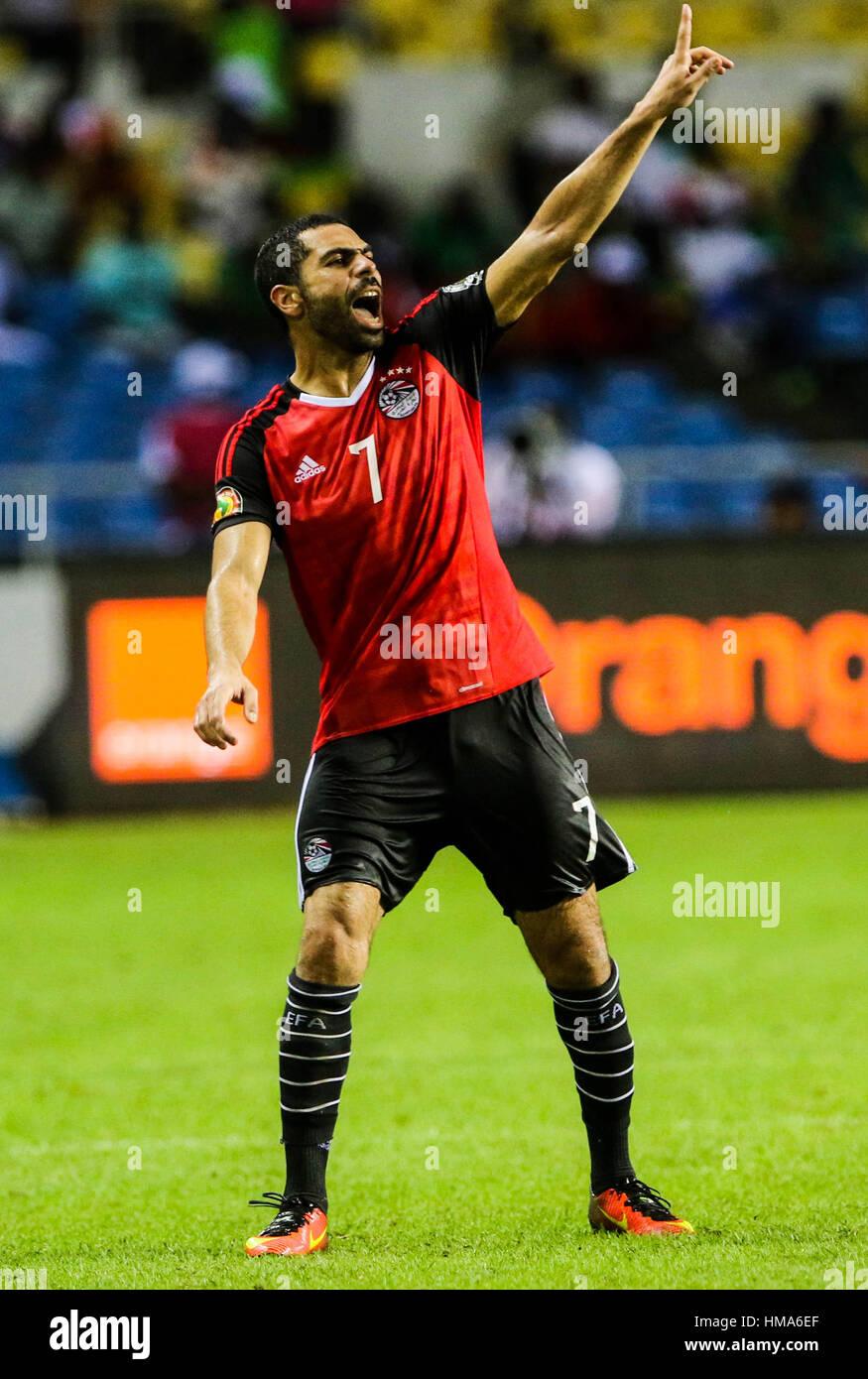 Libreville, Gabun. 1. Februar 2017. Ägyptens Ahmed Fathi reagiert während ein Halbfinalspiel 2017 Africa Cup of Stockfoto
