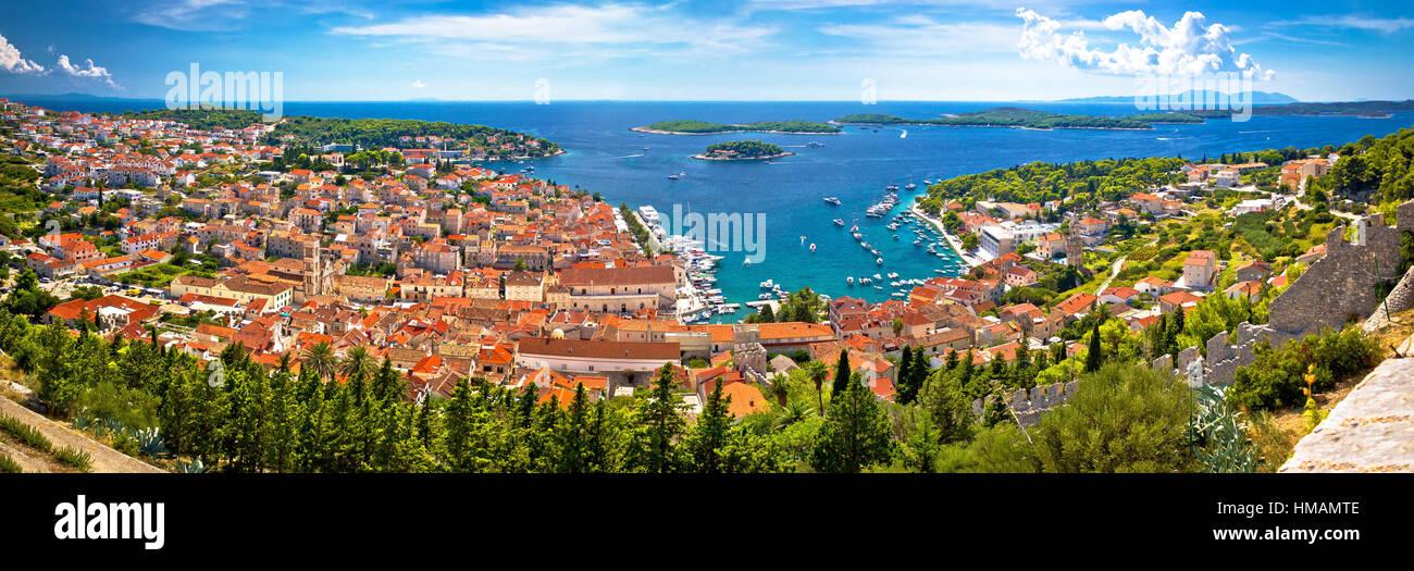 Panoramische Luftaufnahme Insel Hvar Bucht, Dalmatien, Kroatien Stockbild