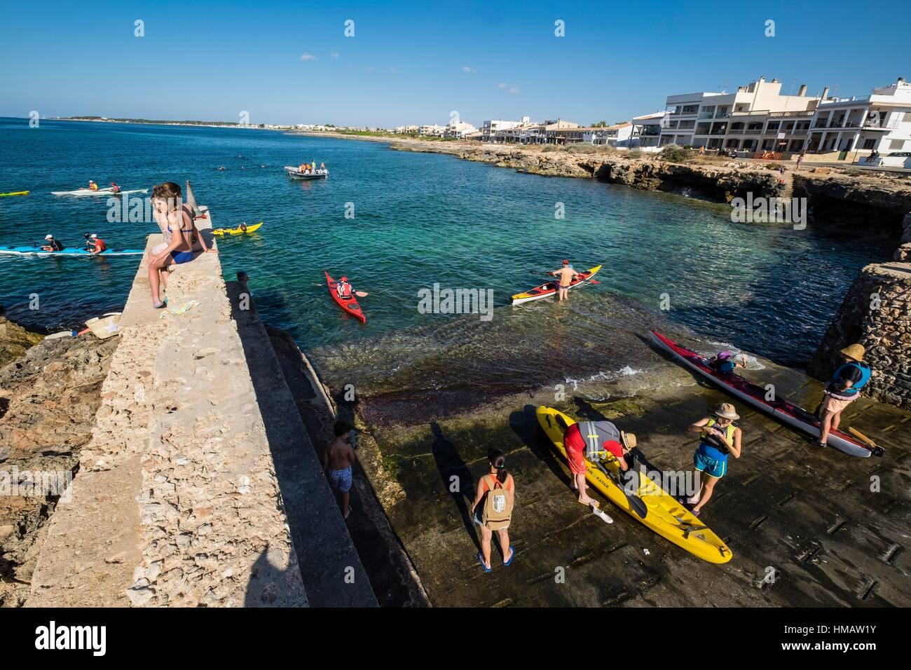 Jahresleistung von Pirogen, Festlichkeiten, Sa Rapita, Campos, Mallorca, Balearen, Spanien Stockbild