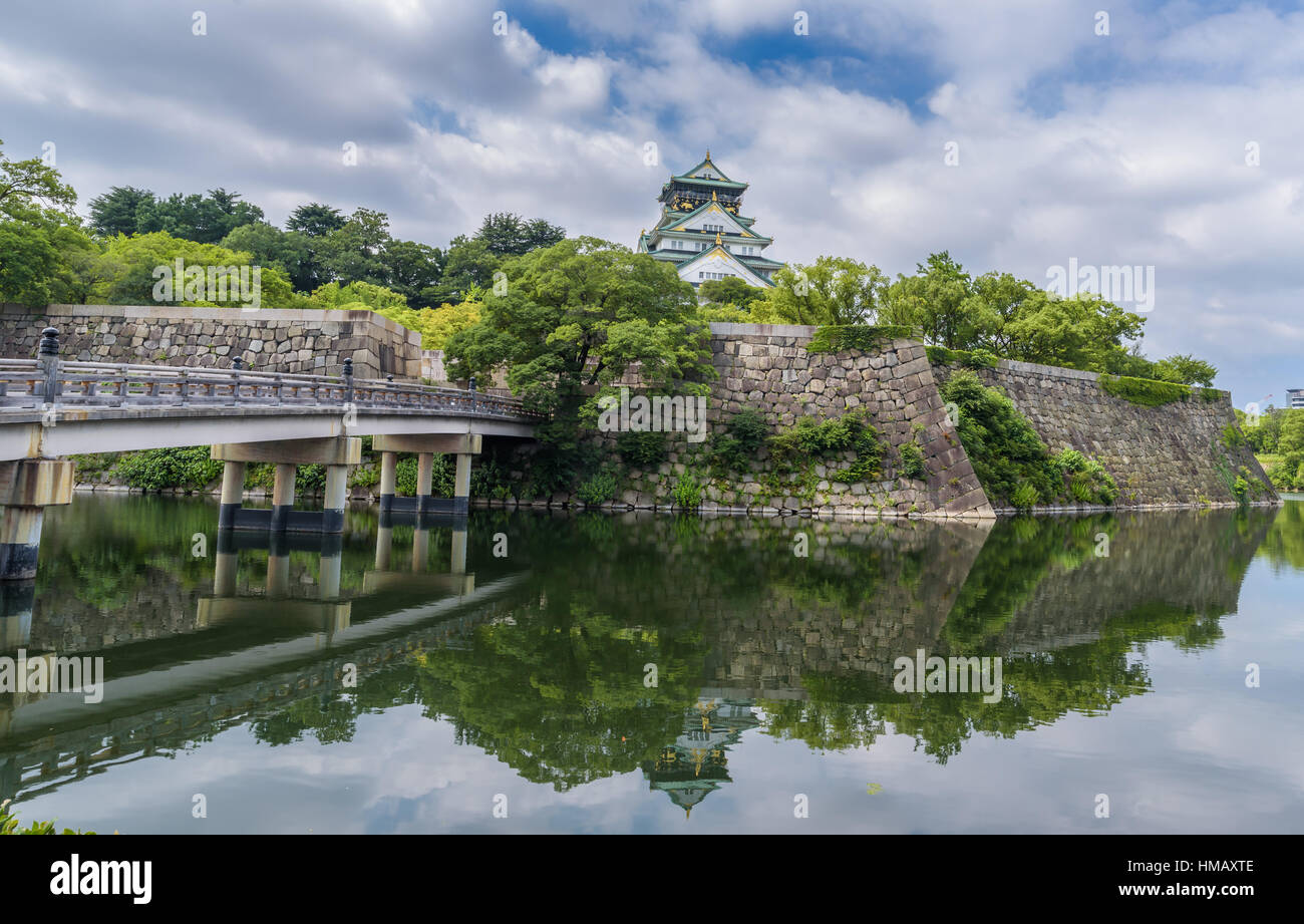 Die Burg Osaka oder Osaka-Jo, Lanmark von Osaka in Japan Stockbild
