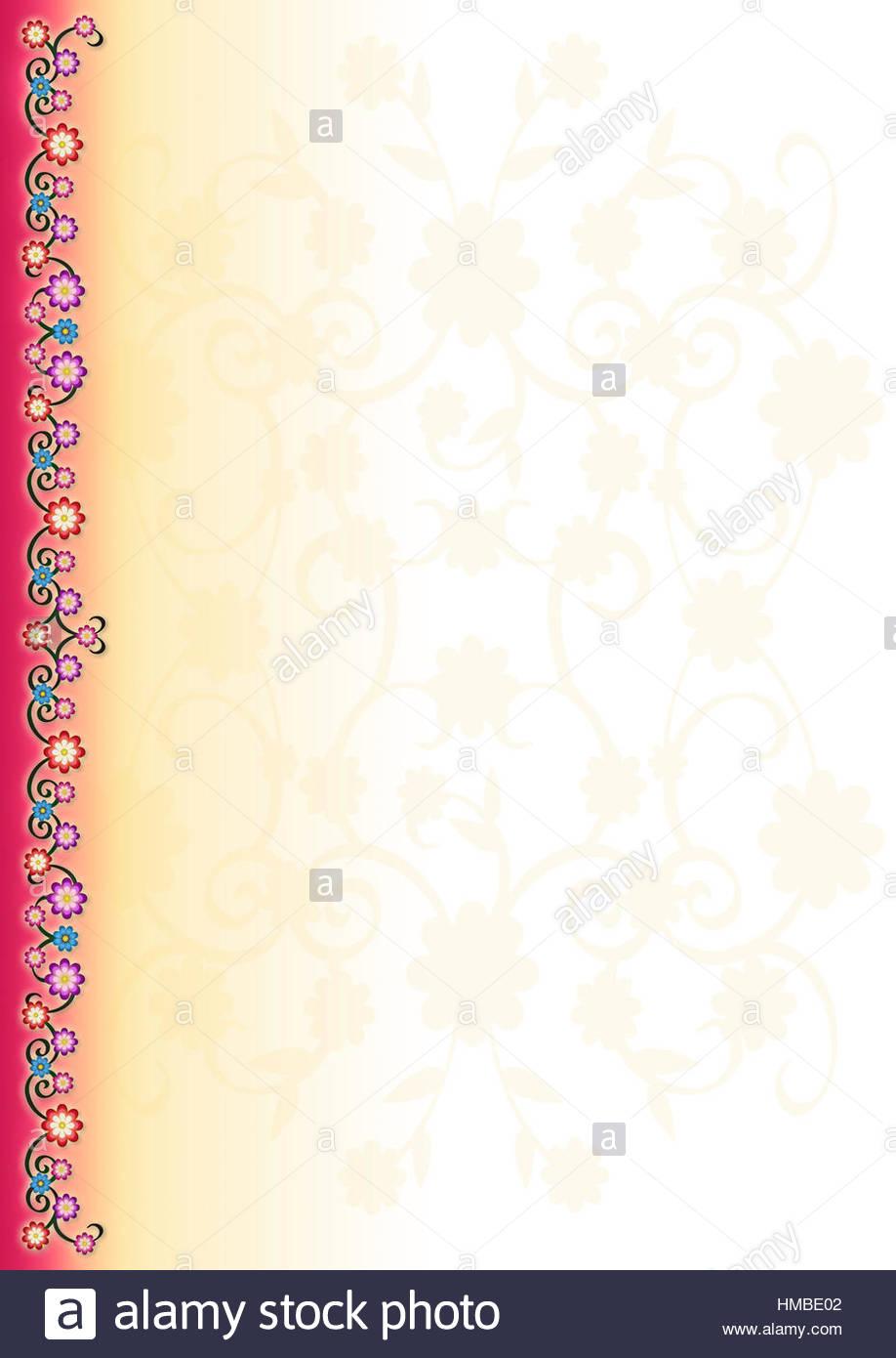 Rosa gelb floral Porträt Rahmen mit Blume Grenze Ont links und ...
