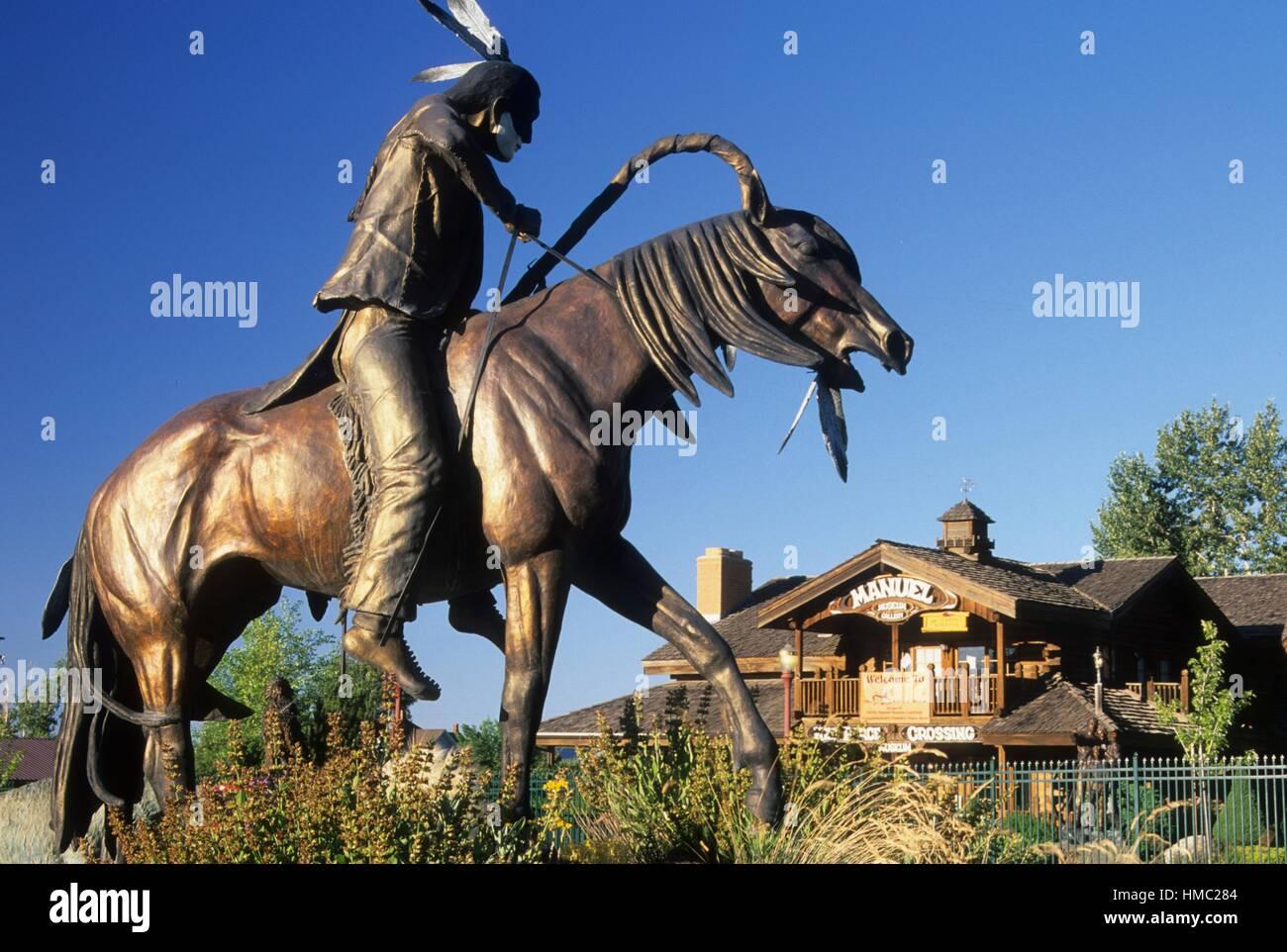 Auf der Spur der Eindringlinge Bronze Statue, Joseph, Oregon. Stockbild
