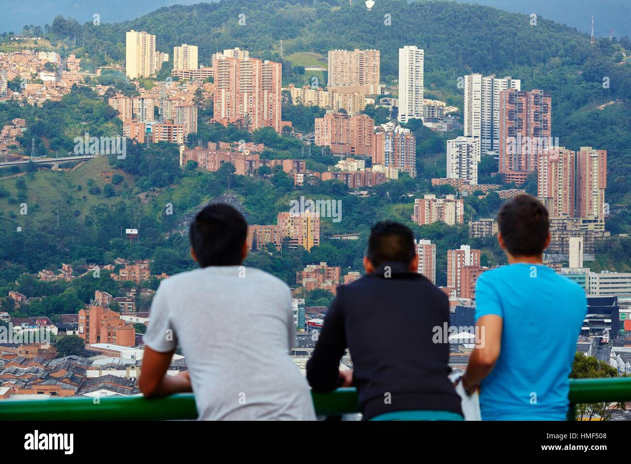 Panorama Aburra-Tal, Cerro Nutibara, Medellin, Antioquia, Kolumbien, Südamerika Stockbild