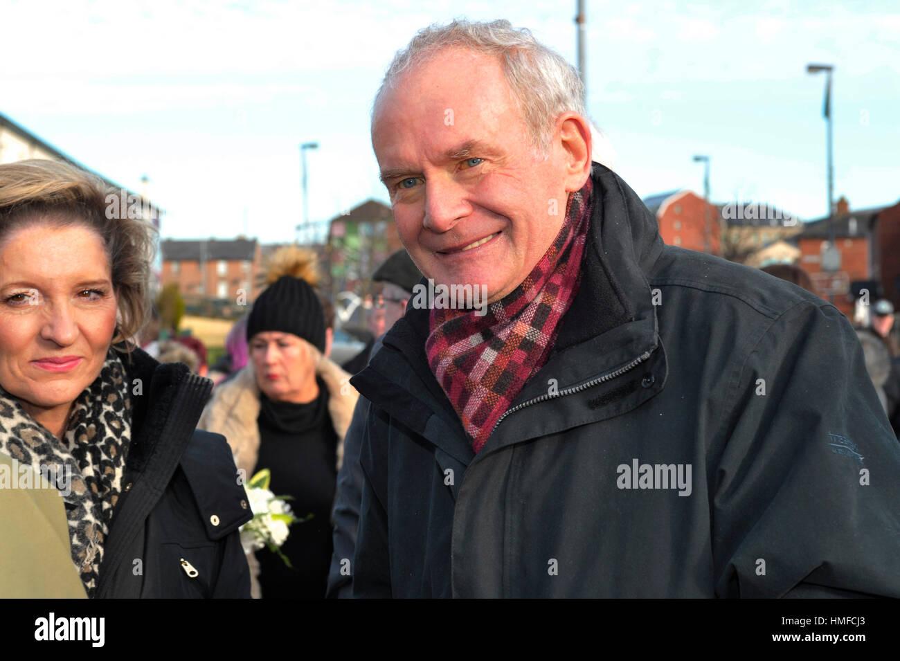 Martin McGuinness, Sinn Féin, bei der 45. Bloody Sunday in Derry, Londonderry. Stockbild