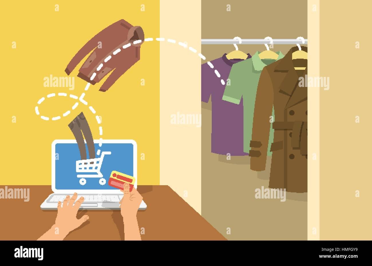 online store a7aa3 b0a93 Online-shopping Männer Kleidung flache konzeptionelle ...