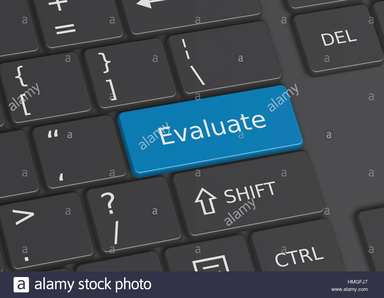 Das Wort Evaluate geschrieben auf eine blaue Taste von der Tastatur Stockbild