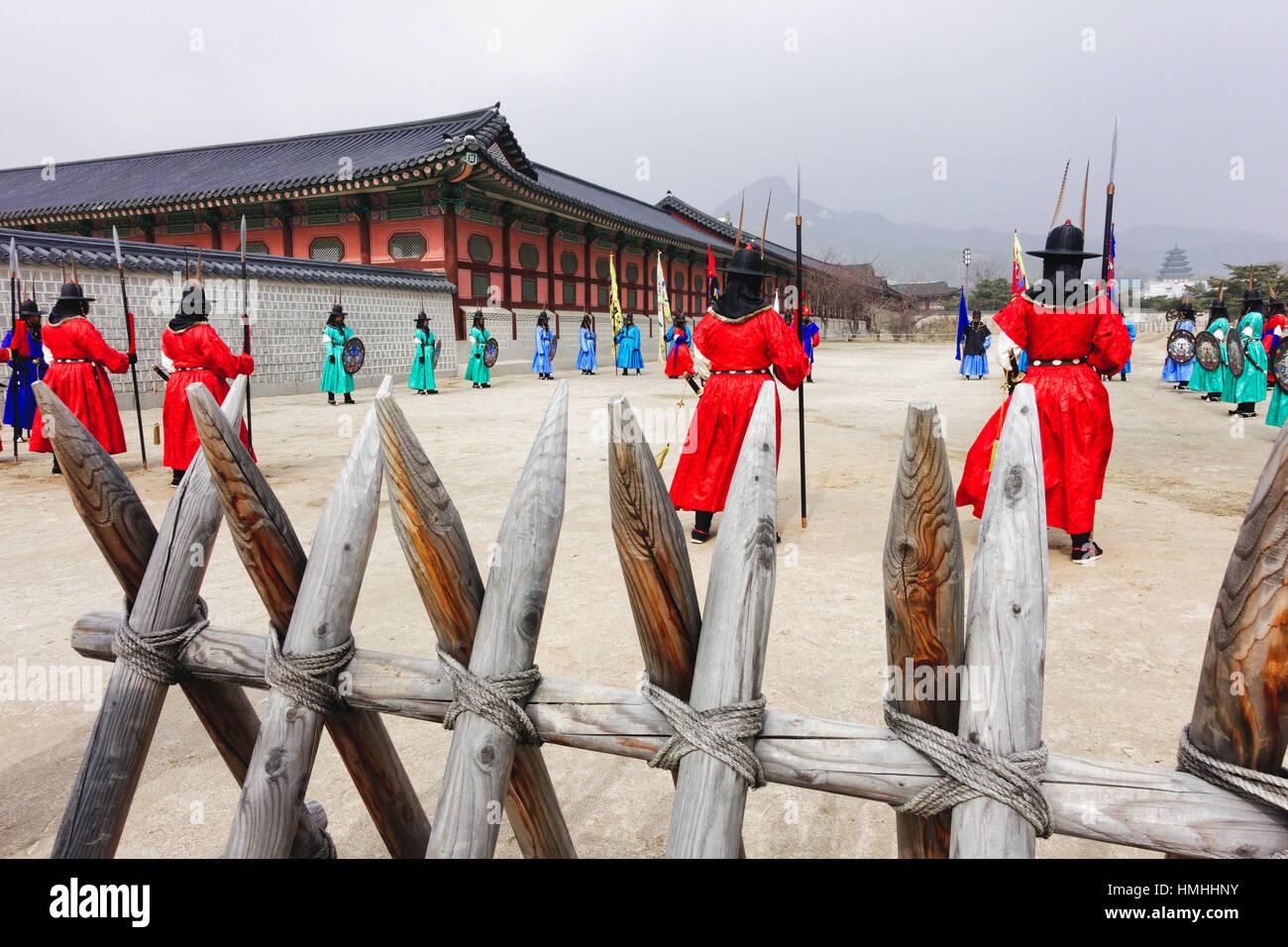 Königliche Garde Inspektion Zeremonie, Gyeongbokgung-Palast, Seoul, Südkorea Stockbild
