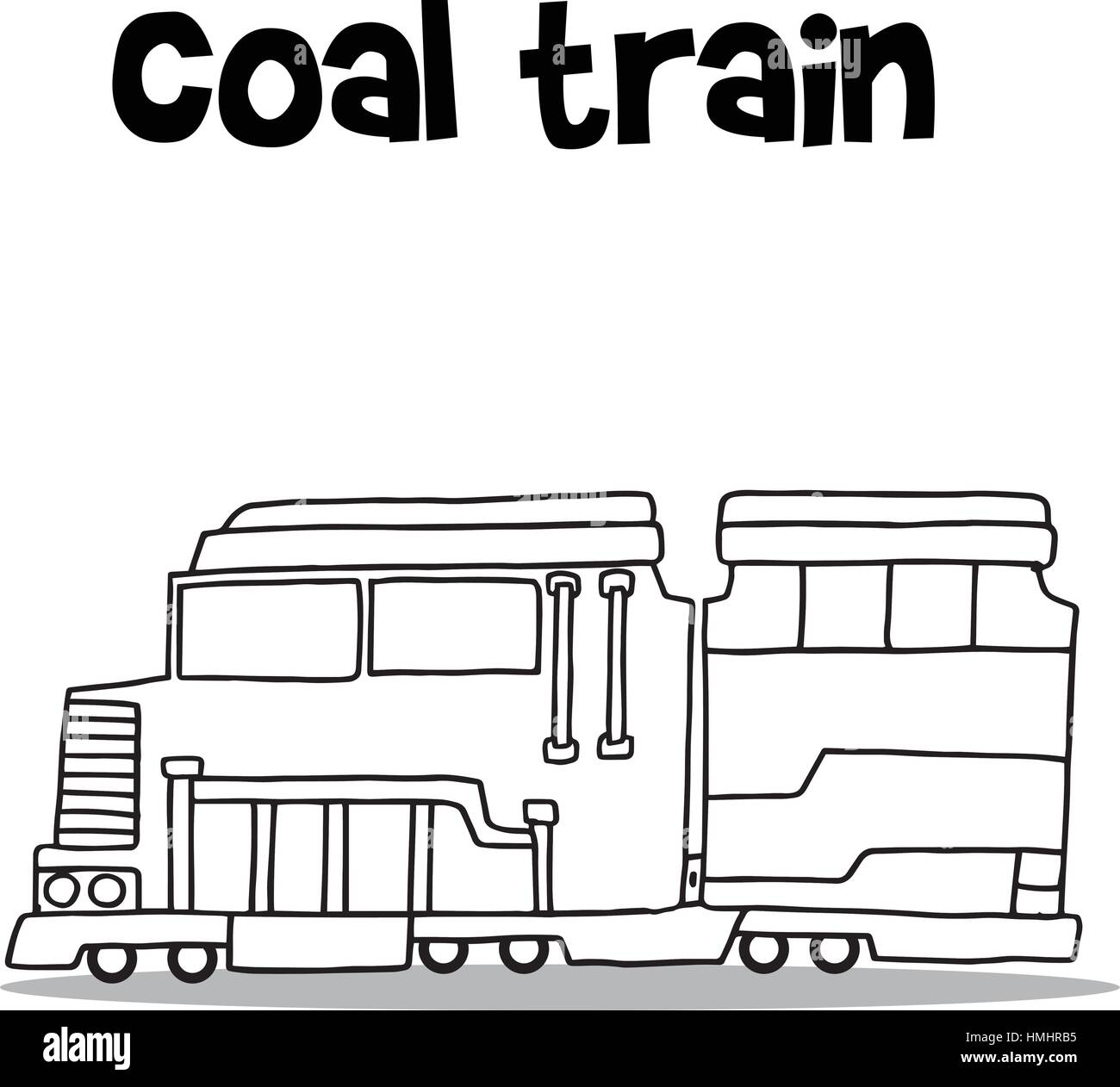 Hand Zu Zeichnen Der Kohletransport Zug Vektor Abbildung Bild