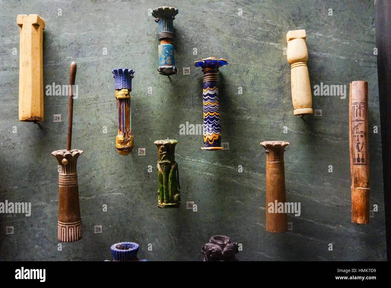 Kosmetischen Empfänger. Auflistung der ägyptischen Pharaonen. Louvre-Museum. Paris. Frankreich. Stockbild