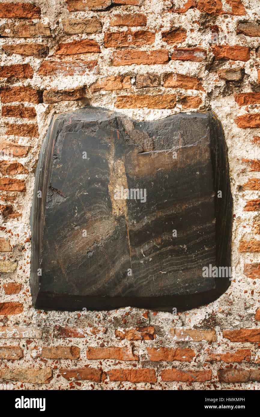 Schwarzer Stein Ziegel Innenwand, Rahmen Hintergrund