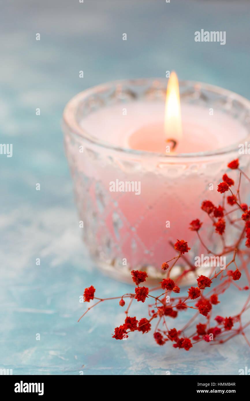 Romantische Einstellung Tischdekoration Brennende Kerze Im Kristall