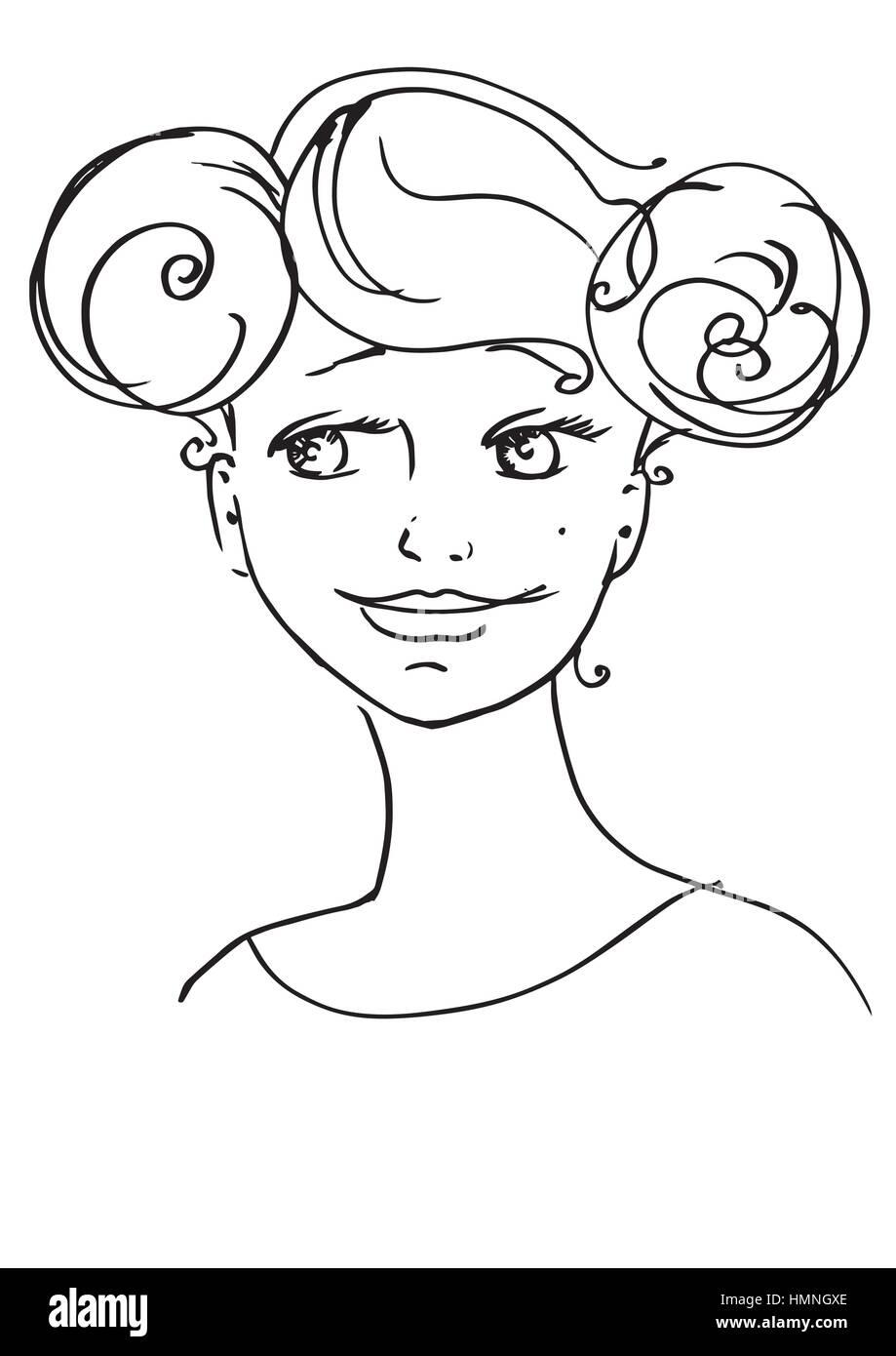 Bezaubernd Schöne Bilder Zum Ausmalen Sammlung Von Schöne Junge Frau. Skizzieren Sie Hand-zeichnung Kontur