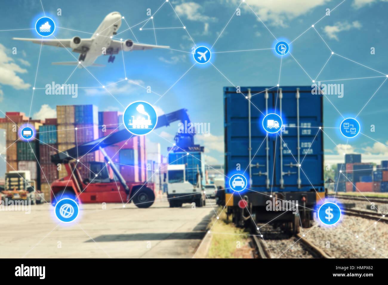 Globales Geschäft Technologie Schnittstelle globaler Partner Verbindung von Containerladung Güterzug für Stockbild