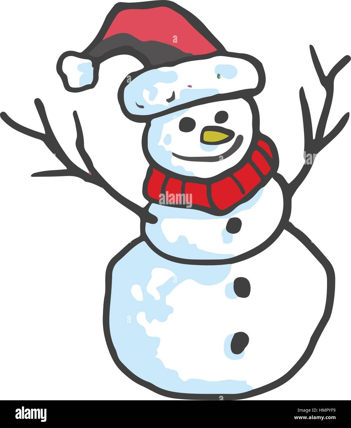 Weihnachten Schneemann lächelnd wie von Hand gezeichnet. Vektor ...