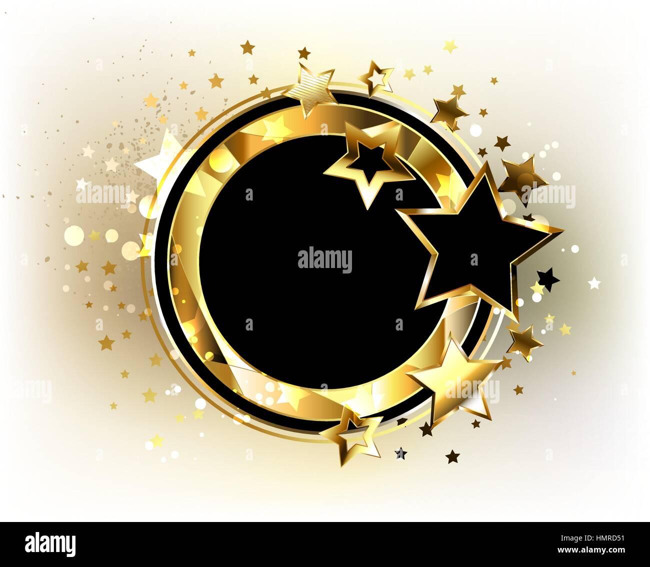 Runde, schwarze Banner mit polygonalen Goldrahmen, verziert mit gold ...