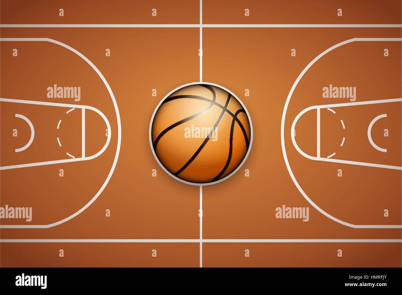 Plakat-Vorlage mit Basketball Ball auf Arena-Feld. Cup und Turnier ...