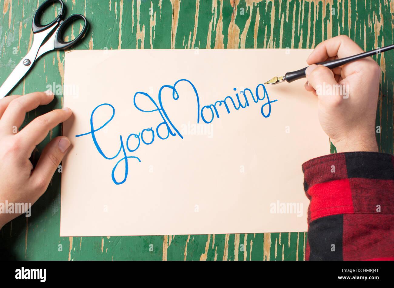 Menschen Die Schreiben Einer Guten Morgen Hinweis Draufsicht