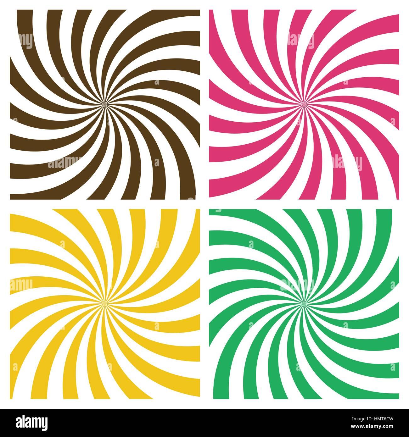 Gestreifte radial Wirbel Hintergründe gesetzt. Retro-Stil Farbe ...