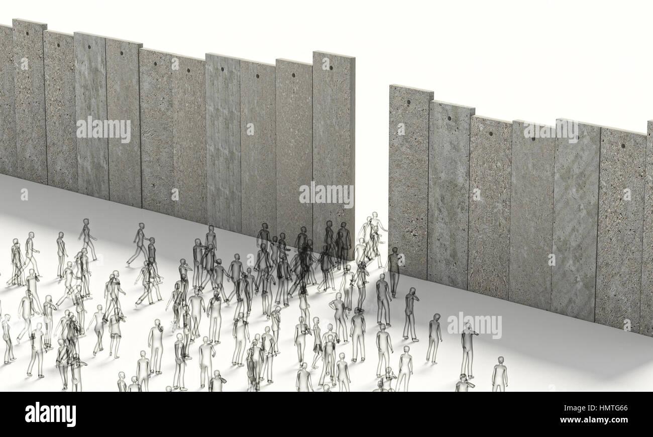 Barriere Konzept Menschen 3d Rendering Rahmenbild Stockfoto, Bild ...