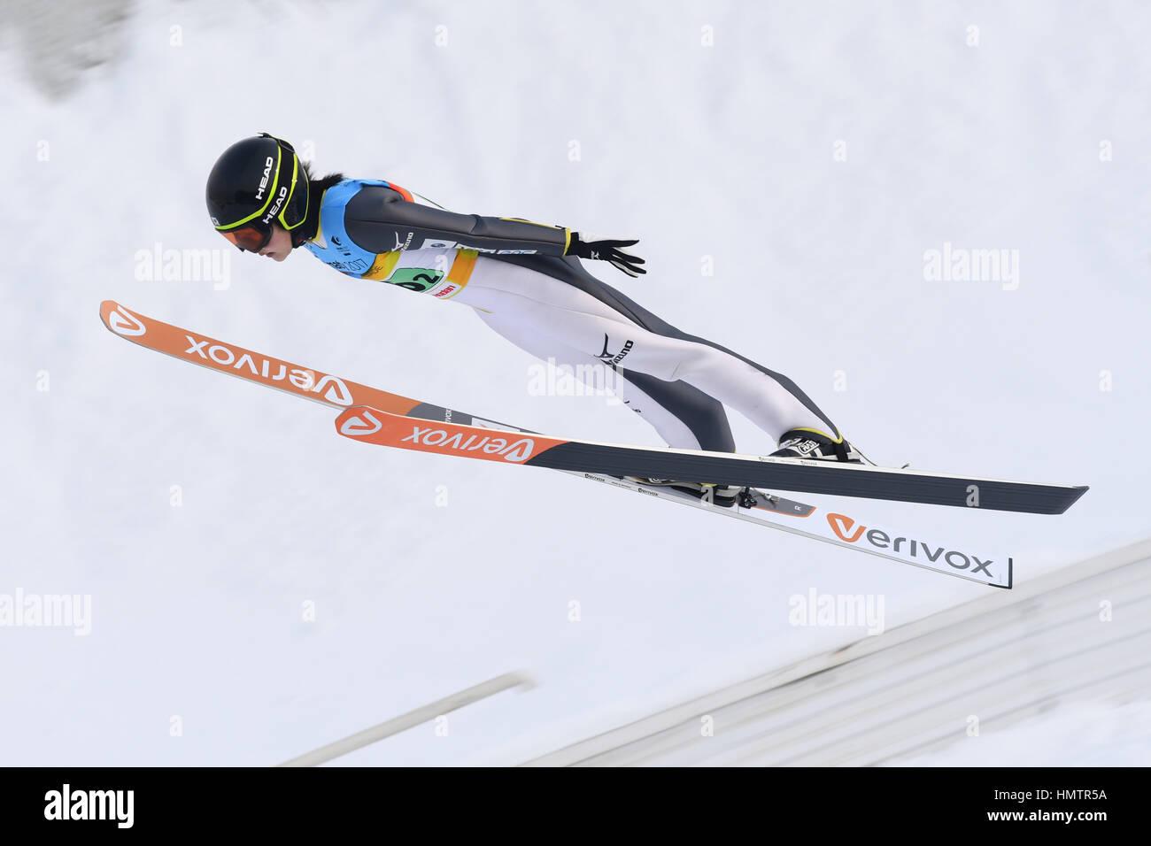 Almaty, Kasachstan. 5. Februar 2017. Haruka Iwasa (JPN) auf den 28. Winter-Universiade Almaty 2017 Frauen Nationalmannschaft Stockfoto