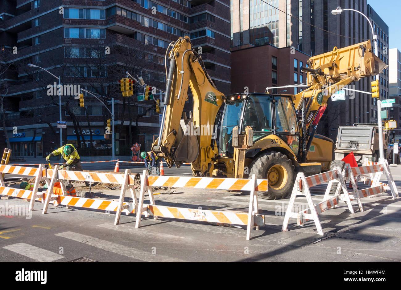 Bauarbeiten an der Infrastruktur von New York City Stockbild