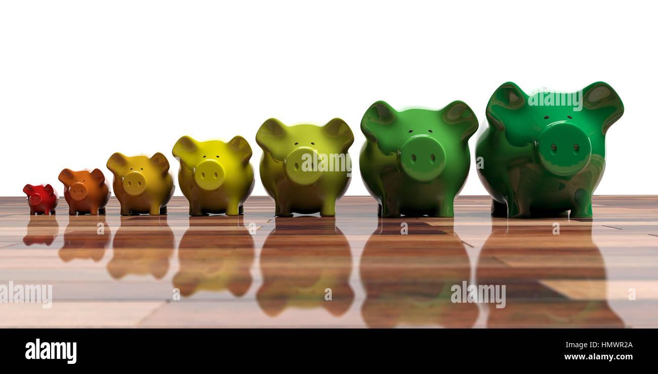 Sparschweine auf Holzboden - Energie-Effizienz-Konzept. 3D illustration Stockbild