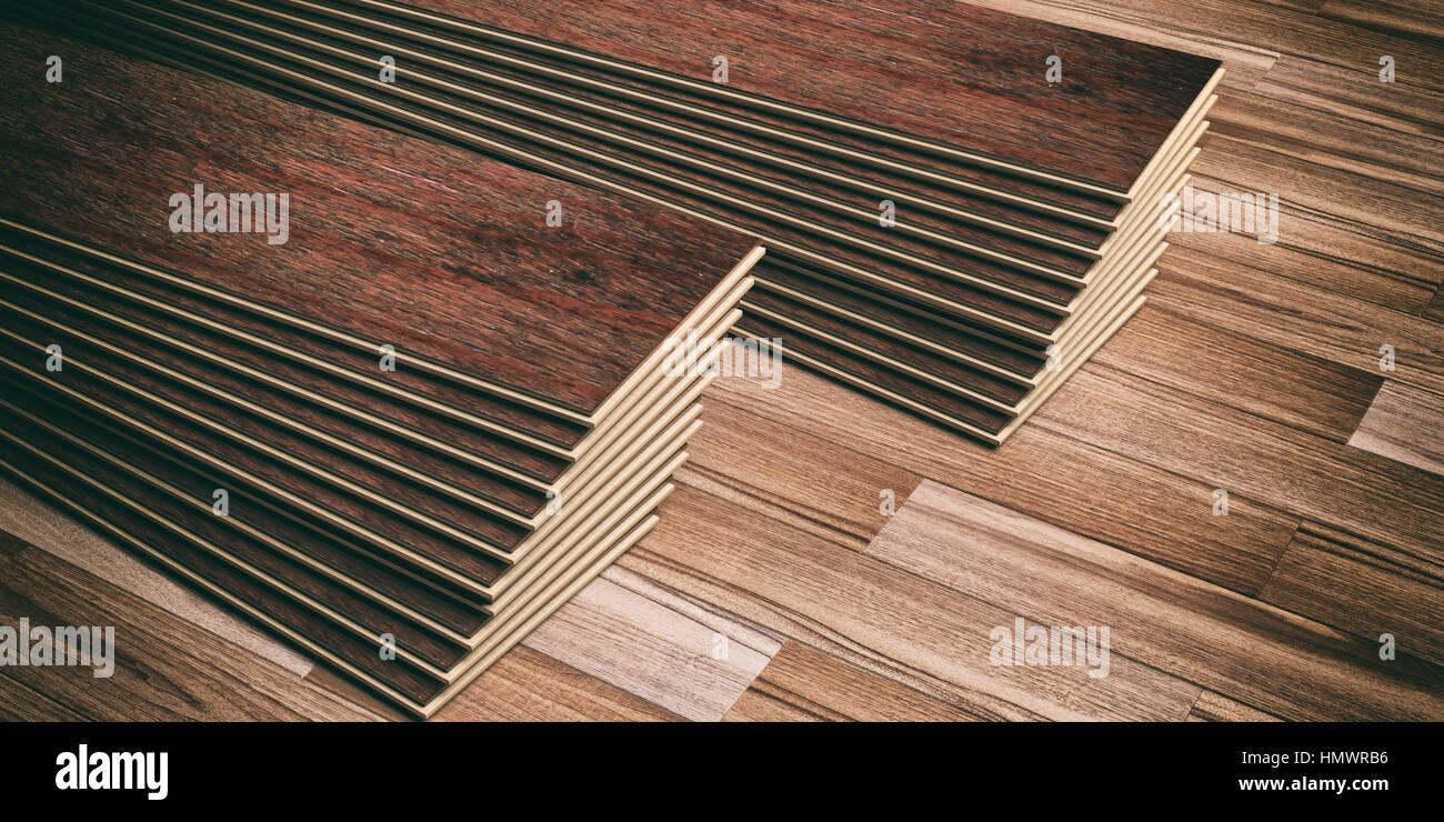 laminat-dielen auf hölzernen hintergrund. 3d illustration stockfoto