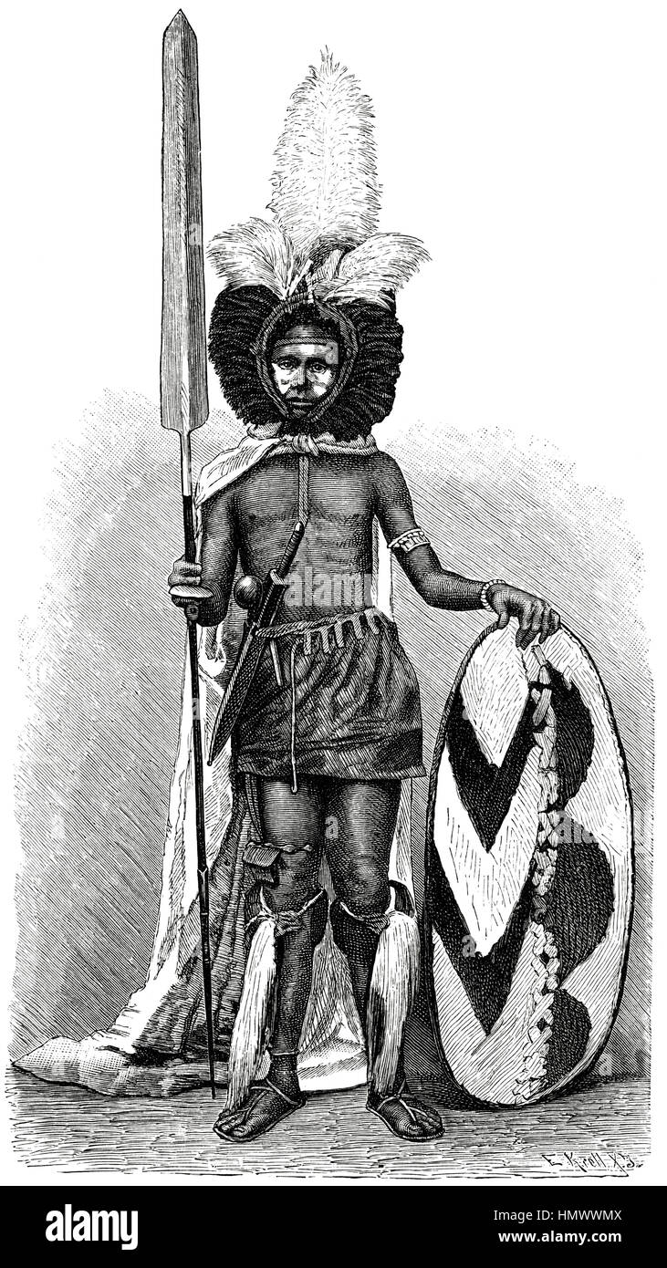 Massai-Krieger in voller Montur, Afrika, Illustration, 1885 Stockbild