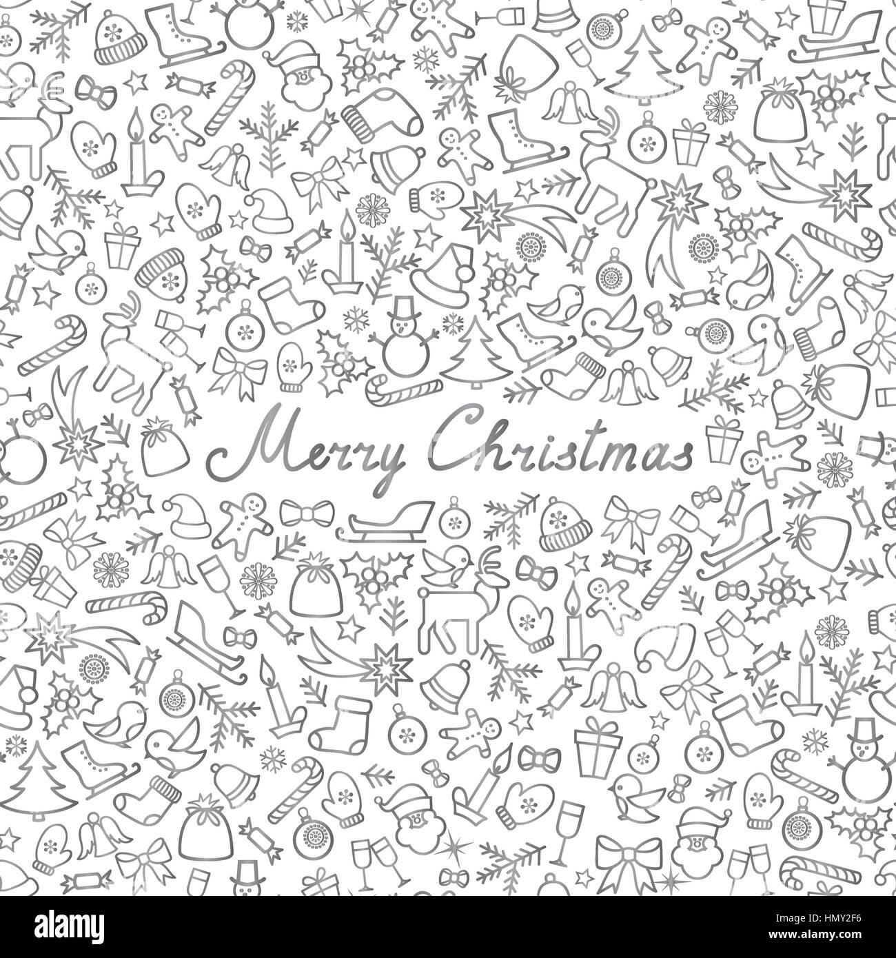Weihnachten Icons nahtlose Muster. happy Winterurlaub Tapete. doodle ...