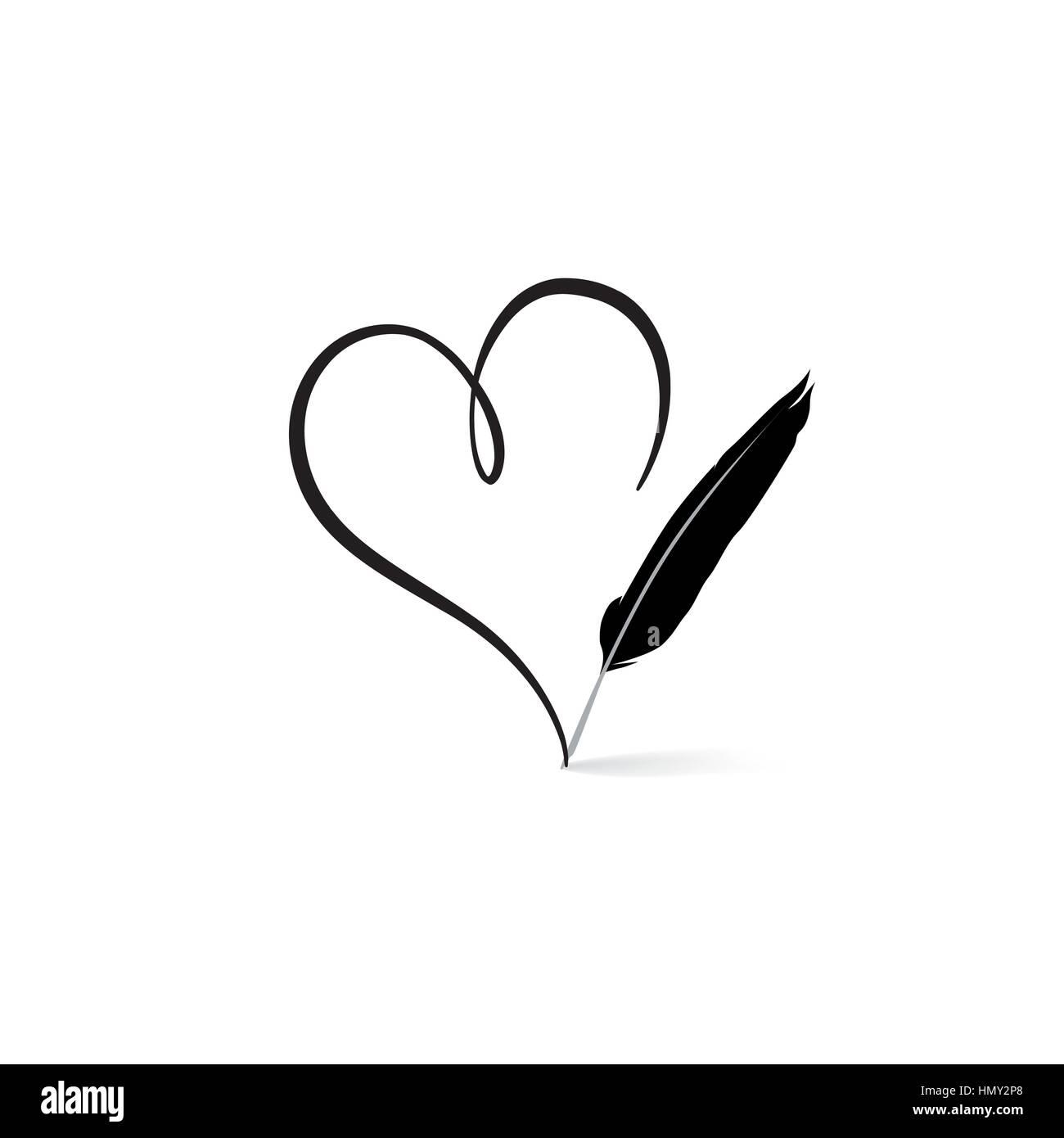 Liebe Herz Durch Feder Feder Gezeichnet. Die St. Valentinstag Grußkarte  Hintergrund. Herzform Design Für Liebe Symbole.