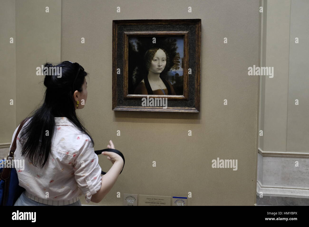 Portrait der Ginevra de\' Benci von Leonardo Da Vinci Stockfoto, Bild ...
