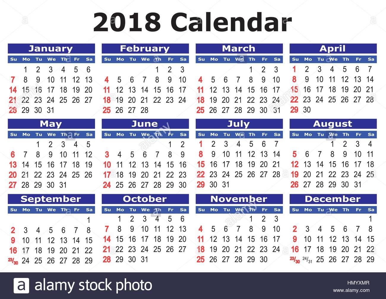 2018 kalender einfachen vektor kalender f r das jahr 2018. Black Bedroom Furniture Sets. Home Design Ideas