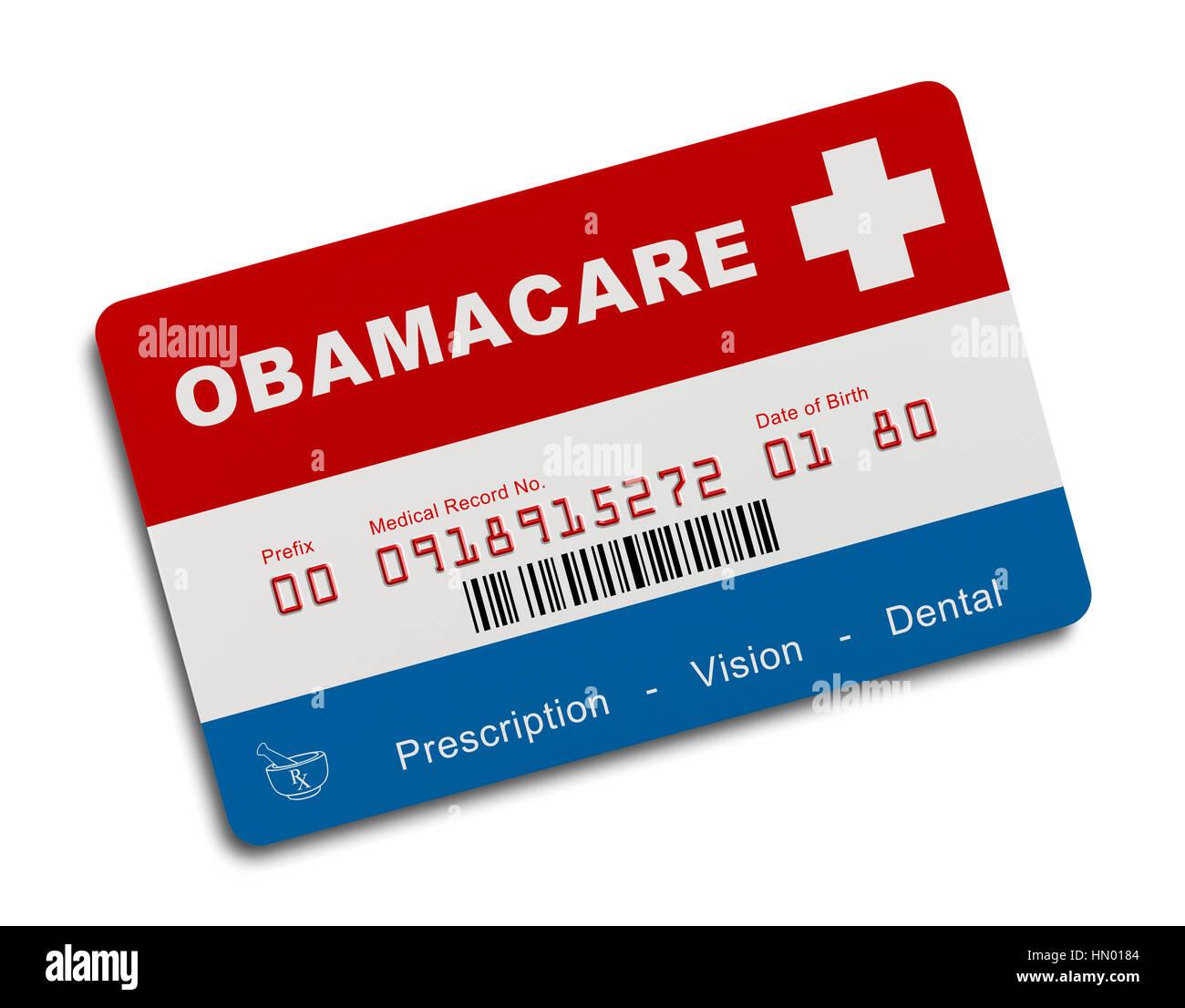 Obamacare Gesundheit Versicherungskarte, Isolated on White Background. Stockbild