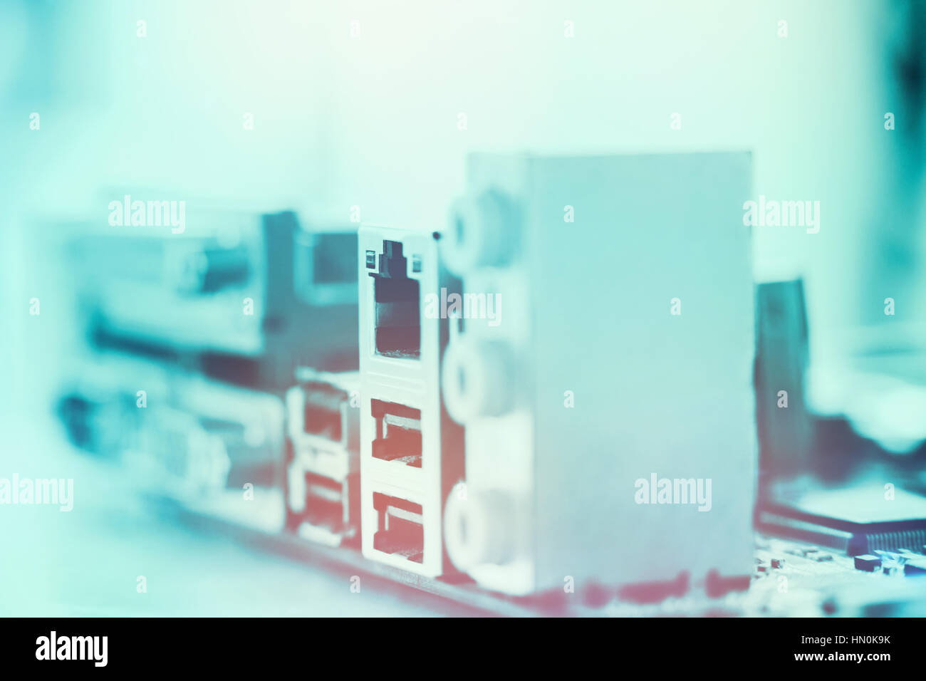 Detaillierte Nahaufnahme eines Mainboards Stockbild
