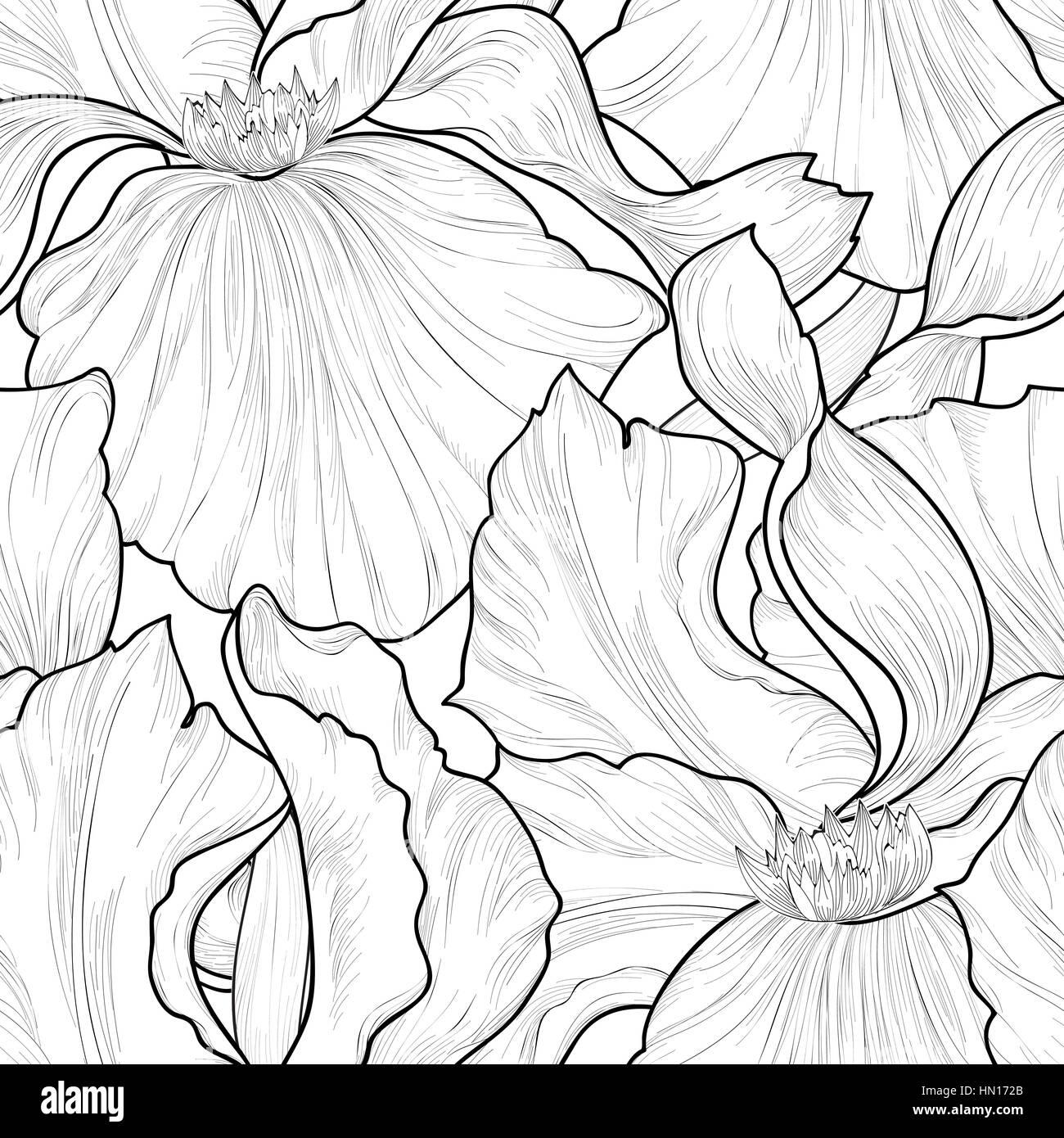 Florale nahtlose Muster. Blume iris ätzen Hintergrund. Abstrakt floral ornamentale Textur mit Blumen. Frühling Stockbild