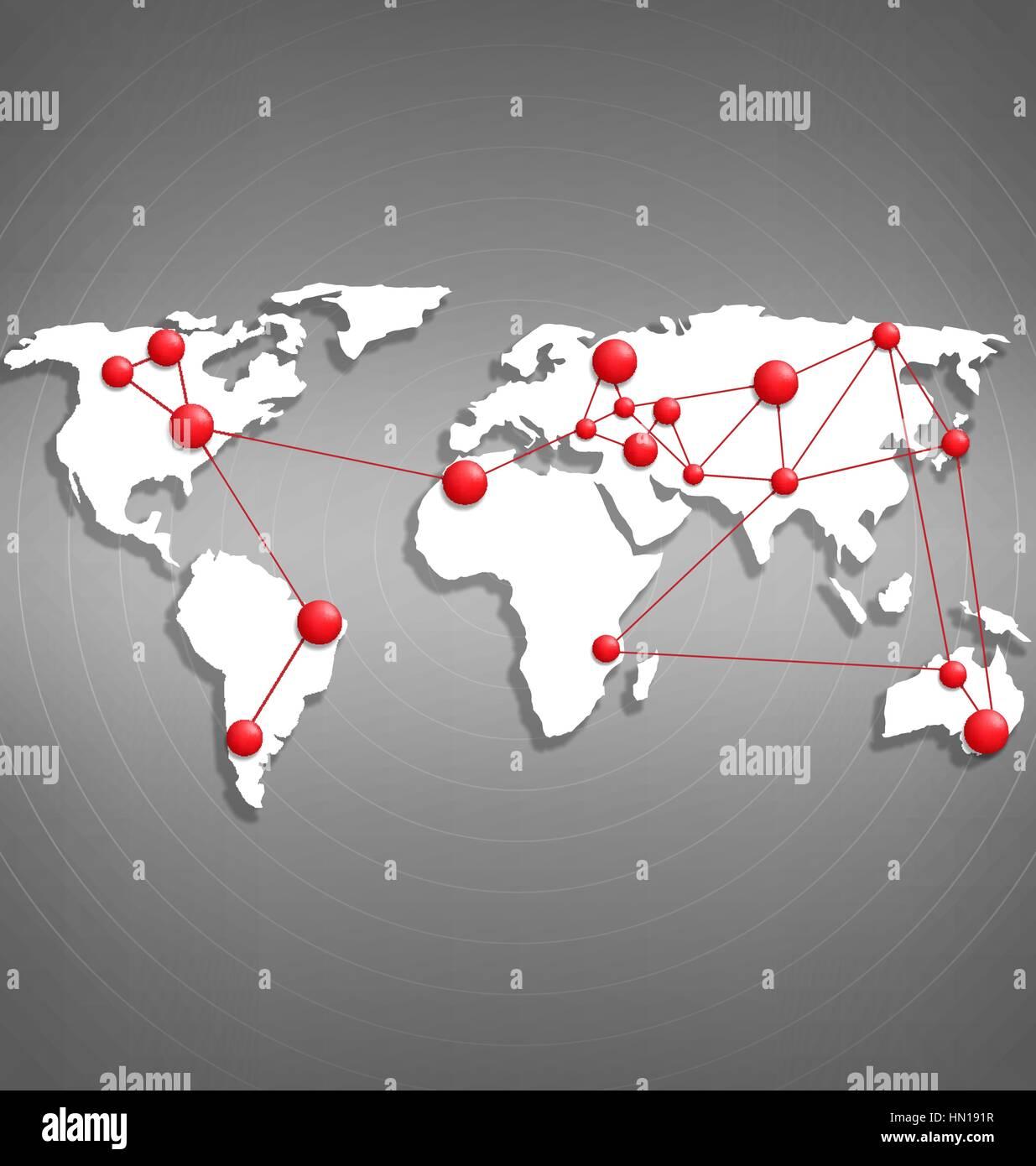 Weltkarte mit roter punkt markierungen auf graustufen for Roter punkt