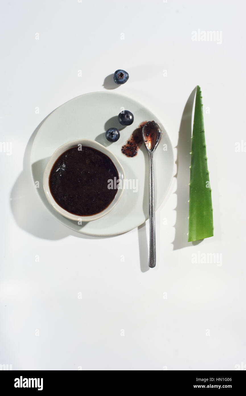 Heidelbeere Aloe Vera Gesichtsmaske Stockbild