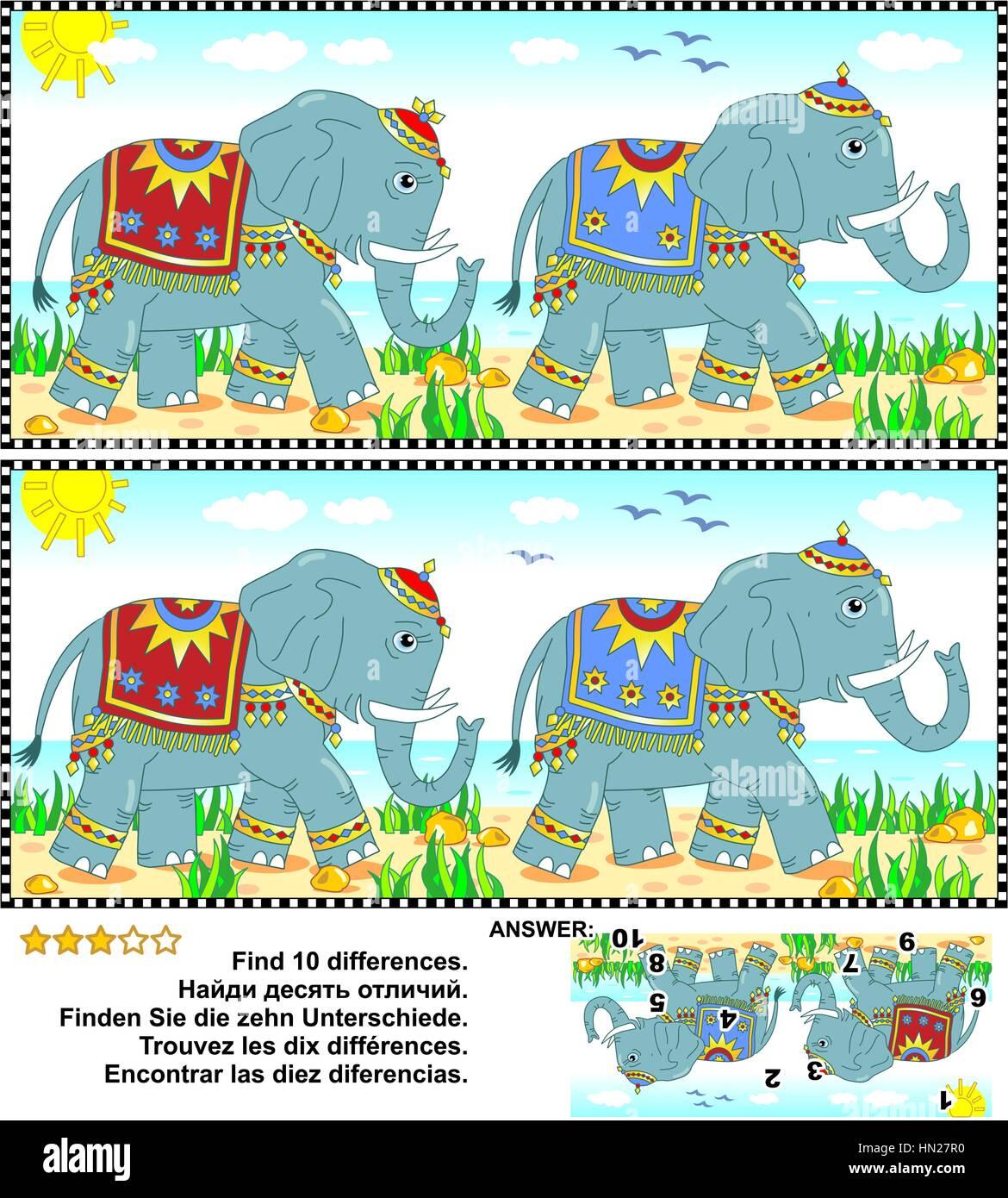 Visuelle Ratsel Finden Sie Die Zehn Unterschiede Zwischen Den Beiden Bildern Der Elefanten Zu Fuss Entlang Der Kuste Antwort Enthalten Stock Vektorgrafik Alamy