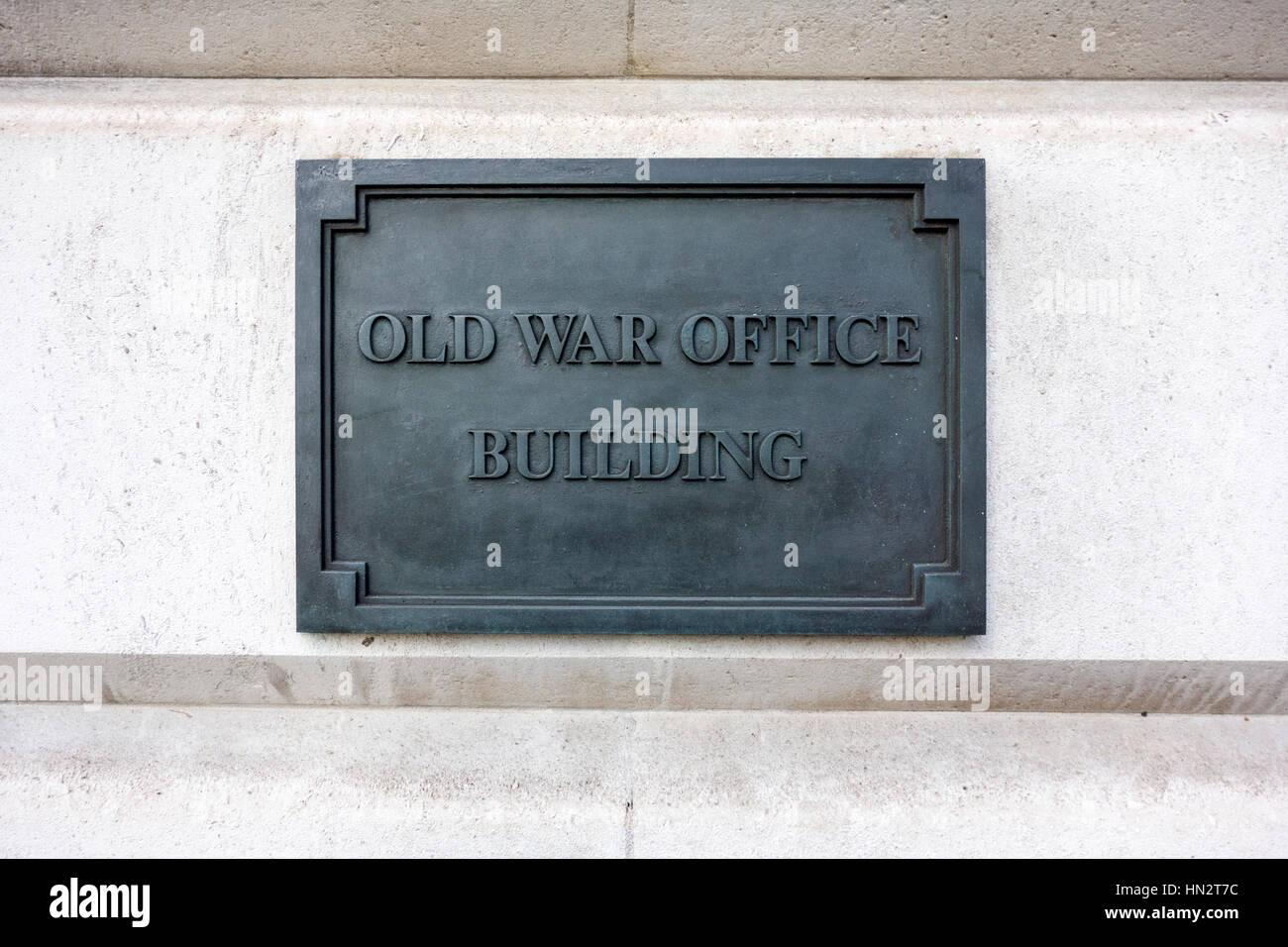 Alten Krieg Büro Gebäude Zeichen, London, UK Stockbild