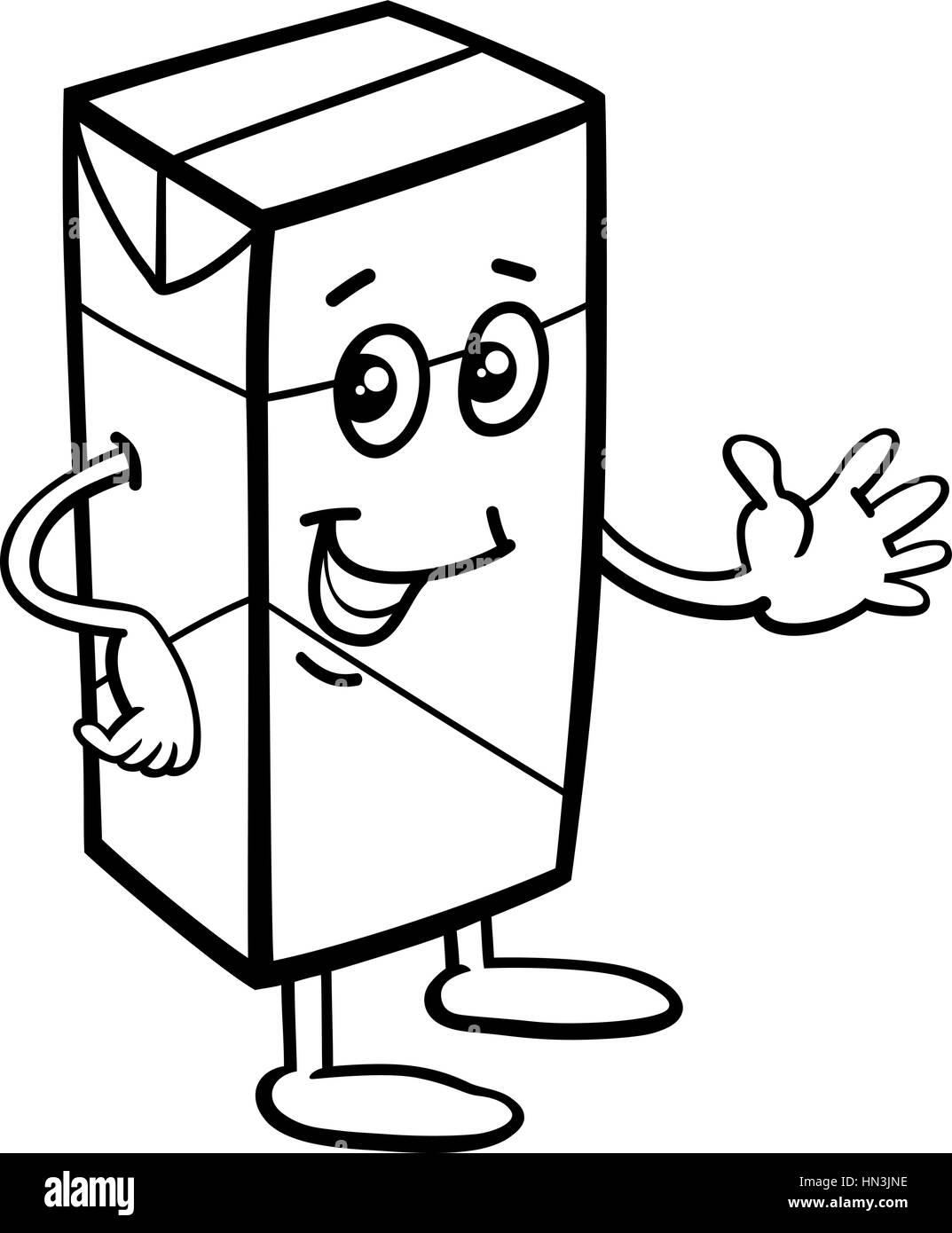 Schwarz / Weiß Cartoon Illustration der Karton Milch oder Saft Essen ...