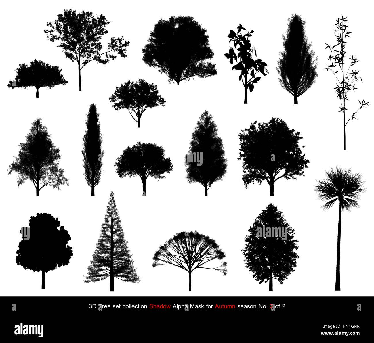 Silhouette Schatten Schwarzen Baum Oder Alpha Maske Herbst Saison Gesetzt Fur Landschafts Architektur