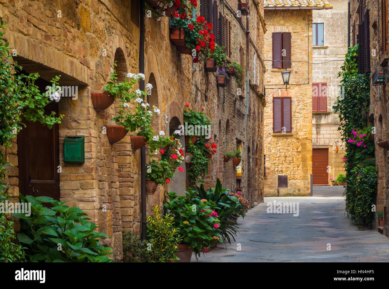 Pienza, eine Stadt und Comune in Provinz von Siena, in der Val d ' Orcia in der Toskana (Mittelitalien), zwischen Stockbild